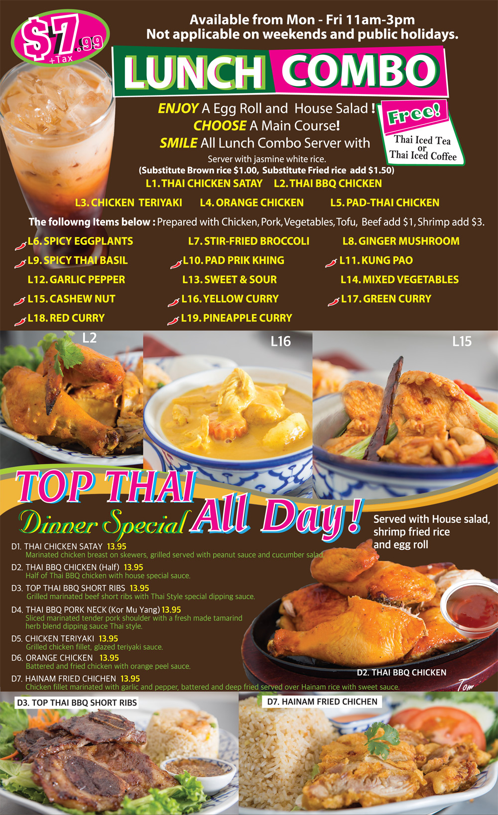 Menu top thai cuisine top thai cuisine is dedicated to authentic thai cuisine using traditional recipes and freshest ingredients forumfinder Choice Image